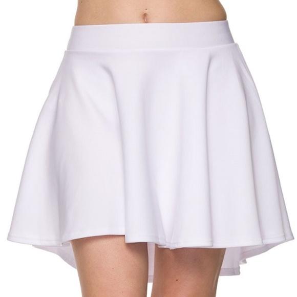 5ac4ec478a High Low Mini Flared Scuba Skater Skirt